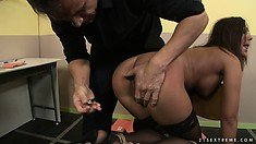 Bound brunette gets face fucked and punished by her cruel master