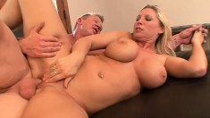 Busty blonde MILF has the time of her life taking it balls deep