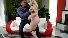 Irresistible Euro blondie Nesty pleases her fuckmate with a blowjob