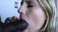 Cute blonde wench gets her twat pounded by interracial package