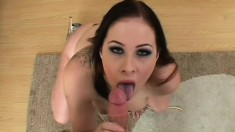 Chubby big tit brunette gets pumped and sucks and gets a mouthful