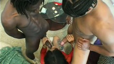 Black girl with a nice, phat ass gets nailed by two blacks including a DP