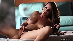Big-tittied nymphomaniac is getting higher and higher during masturbation