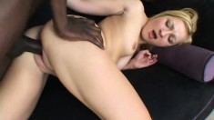 Skinny blondie gets back at daddy by fucking a big black dick
