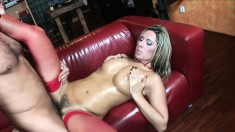 Naughty blonde Daria moans while getting her cute tushie rammed