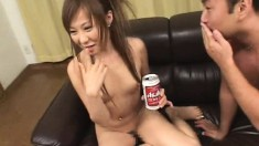 Beautiful Oriental babes can't get enough semen on their pretty faces