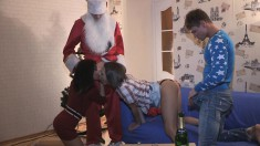 Two tight-bodied skanks get their cunts penetrated on Christmas Eve
