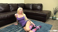 Sweet blonde Christie Stevens does an interview and gets to the floor