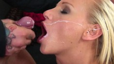 Ravishing blonde Barbie White gets banged hard and swallows a big load