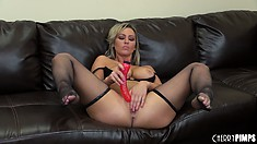 Abbey Brooks takes a moment to show her hot body before masturbating