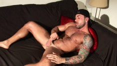 Toned stud Sergi Rodriguez shows off his perfect body and huge dick