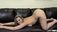 Thick blonde babe with delicious curves finger bangs her cunt