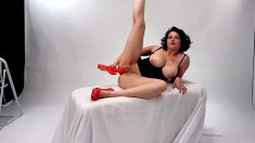 Thick brunette in lingerie tries her best to impress on a casting video