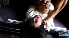 Irresistible Asian babe gets her cunt wrecked in the trunk of a car