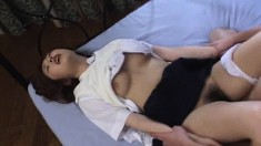 Wild Japanese babe takes a dick in her pussy and another in her mouth
