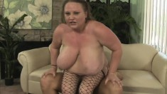 Huge breasted mature in fishnets Sienna Hills wildly fucks a hard dick