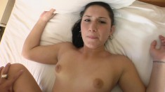 He's looking down at her hot ass while he pounds her twat in POV