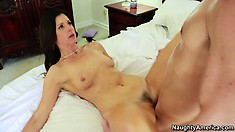 Tanned slut gets her pink pussy filled up with a hard schlong