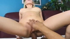 Big breasted blonde slut has a hung black man fucking her cunt in POV