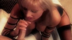 Naughty blonde takes a long rod up her ass and a hot load in her mouth