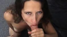 Slender brunette milf seduces her hung neighbor to fuck her hairy slit