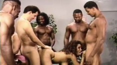 Busty Black Bitch Gets A Dick In Every Hole And Loads In Her Mouth