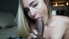 Alluring blonde fingers her honey hole and goes wild for a thick cock