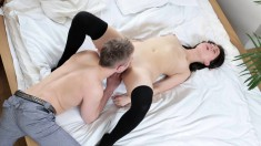 Luscious Young Brunette Gets Fucked By Her Boyfriend All Over The Bed
