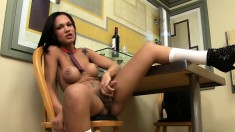 Provoking Shemale With Big Boobs Stretches Her Tight Ass With A Dildo