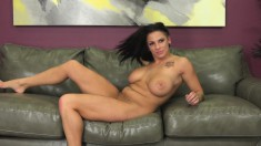 Hot Brunette With Big Knockers Poses, Sucks And Gets Humped Hard