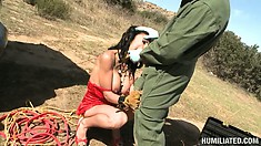 Latina chick broke down in the desert and this dude wants a blowjob for helping