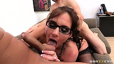 She needed cock so badly, and she welcomed one both in her cunt and one in her mouth