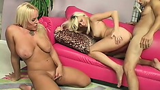 Hot threesome with a pair of blonde babes sharing his man juice