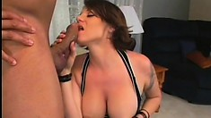 Kayla Quinn exposes her huge boobs and wraps her sexy lips around his black cock
