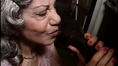 Granny Gigi gives her saggy pussy up to the hunky negro plumber