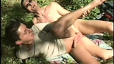 They go to the woods for some perfect scenery and perfect ass penetration