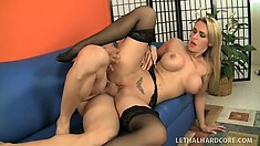 Stacked blonde mom Tanya Tate tastes a young stud's ass and rides his hard cock