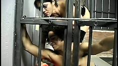 Dominatrix Mika Tan gives a prisoner his rightful punishment