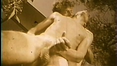 Retro video of uninhibited gay stallions engaging in ass-drilling action
