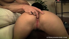 Sexy brunette with a well-shaped ass Gabriella Patrova tongues her man's anal hole