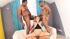 Charming blonde needs three black cocks to satisfy her sexual desires