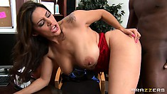 Big boobs bounce as Dean Raylene gets drilled by his big black bone