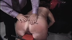 Old brute tortures MILF's big boobs and tears her ass hair out