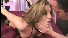 Milf in lingerie chews on his meat and gets her ass hardcore fucked