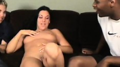 Judy gets her perfect pink slit torn apart in a rough threesome