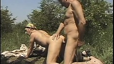 Big ass granny is getting doggy-style fucking from young stud