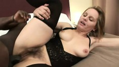 Cheating wife seizes the opportunity to suck and fuck a huge black rod