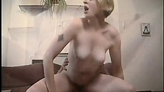 Lustful housewife has her man eating out and pounding her hairy peach