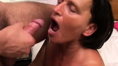 Filthy mature broad gets her cougar on for a young hunky stud