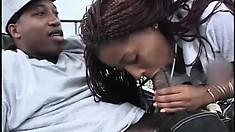 Sexy ebony nurse in white lingerie takes a huge black rod in her peach